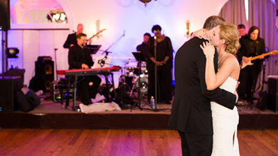 Adrian Duke Project band plays first dance in ballroom