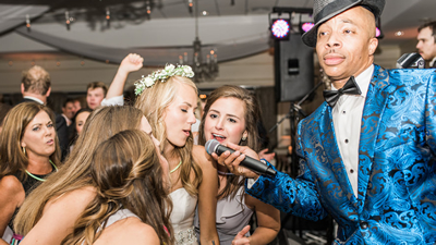Affirmative Groove bride sings with lead singer