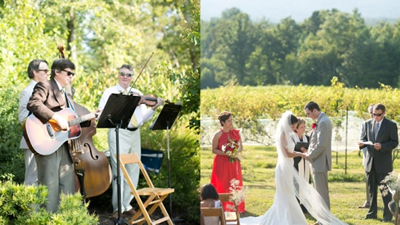 Charles King Arthur couples ceremony at a vineyard band trio performing outdoors