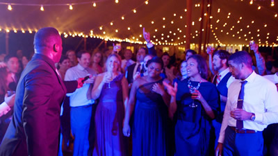 Crystal Clear Band audience singing and dancing at a wedding party