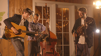 Gallatin Canyon live performance at a wedding reception in a barn