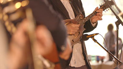 Gallatin Canyon mandolin player performing live at an outdoor wedding reception