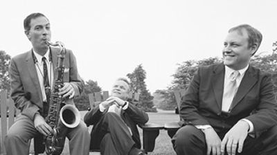Jeff Decker Band  promotional photo in black and white male with sax