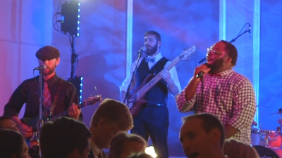 Lucky Pocket band performs music at live concert