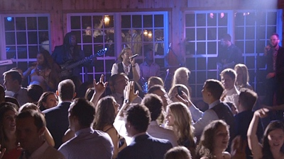 New Royals The guests singing and dancing while band performs live at a wedding reception
