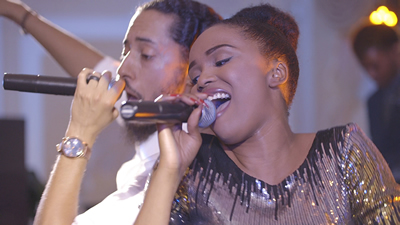 New Royals The male and female singer performing live for a concert