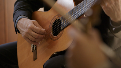 Peter Richardson close up of guitar performance at a live private event