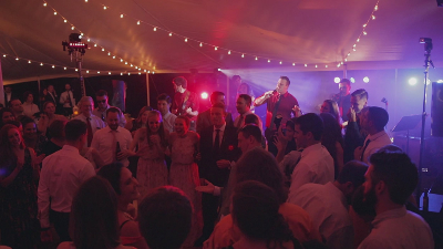 RadioJacks band plays music for outdoor wedding reception