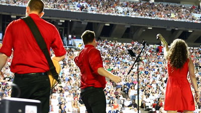 RadioJacks band performing live at a stadium