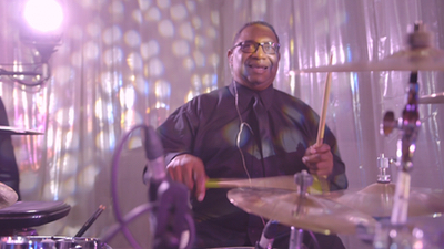 Seven Til Sunrise drummer playing live for a wedding party