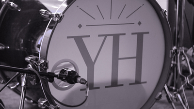 Young Hearts promotional photo of bass drum with band logo